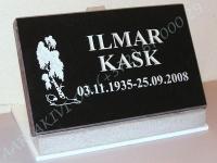 Hauaplaat [0100-1] 40x25x3cm, must graniit, pilt-22(ilma ristita), kiri-3(est/rus), hõbedavärv, betoonalus