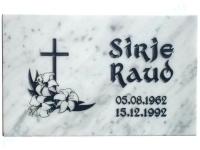 Hauaplaat [0100-42] 40x25x3cm, valge marmor, pilt-5, kiri-8(est), must värv