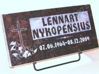 "Hauaplaat [0125-53] 50x25x3cm, tumepruun graniit, pilt-6, kiri-6(est/rus) ""R""-kastis, naturaalne, metallalus"