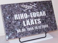 Hauaplaat [0150-33] 50x30x3cm, sinine pärl graniit, pilt-23, kiri-23(est/rus), hõbedavärv, metallalus