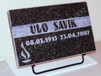 """Hauaplaat [0100-56] 40x25x3cm, tumehall graniit, pilt-16, kiri-14(est/rus) """"R""""- servadeni kastis naturaalne, metallalus"""