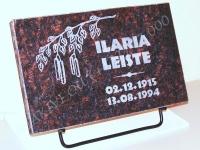 Hauaplaat 0100 40x25x3cm, tumepruun graniit, pilt-9, kiri-10 naturaalne, metallist alus
