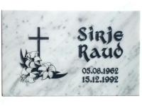 Hautalaatta 0100 40x25x3cm valkoinen marmori, kuva-5, kirje-8 musta