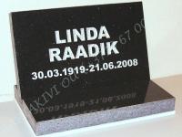 Hauaplaat [0100] 40x25x3cm, tähistaevas graniit, kiri-17, hõbedavärv, graniidist alus