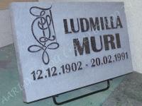 Hauaplaat 0150 50x30x3cm tumehall graniit, pilt(kliendi oma pilt), kiri-34R naturaalne, metallist alus