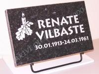 Hauaplaat 40x25x3cm, must pärl graniit, pilt-12, kiri-12, hõbevärv, metallist alus