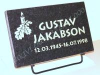 Hauaplaat [0100] 40x25x3cm, must pärl graniit, pilt-12, kiri-12, hõbedavärv, metallist alus