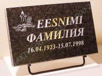 Hauaplaat [0100] 40x25x3cm, must pärl graniit, pilt-38 hõbevärv, kiri-38 hõbeda ja kullavärv ja naturaalne, metallist alus