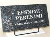 Hauaplaat [0125-29] 50x25x3cm, sinine pärl graniit, pilt-75, kiri-59(est/rus), hõbedavärv, metallalus