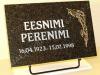 Hauaplaat [0135-58] 45x30x3cm, tumehall graniit, pilt-79, kullavärv, kiri-60(est) hõbedavärv, metallalus
