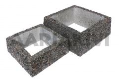 Vaas pesubetoonist - kandiline, põhjata, 300x300x120 ja 400x400x160, kirjuhall kild (P102)
