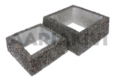 Квадратная ваза из мытого бетона, без дна, 300x300x120 ja 400x400x160, с пёстро-серым щебнем(Р102)