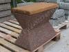Hauapink pesubetoonist, suur, puidust istmega, punakaspruun, 60x30x45cm, 120kg
