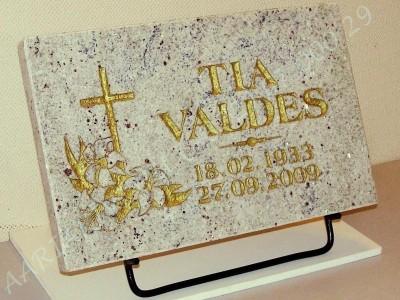 Hauaplaat 0100 40x25x3cm helebeez graniit pilt-5 kiri-3 kuld metallist alus