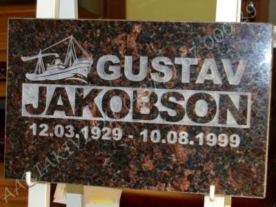 Hauaplaat 0100 40x25x3cm tumepruun graniit pilt-17 kiri-17 ja kiri-17R naturaalne