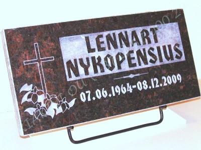 Hauaplaat 0125 50x25x3cm tumepruunl graniit pilt-6kiri-6R kastis naturaalne metallist alus_0