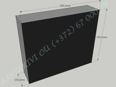 Hauakivi 030 60x50x15cm Poleeritud Saetud Saetud must graniit-