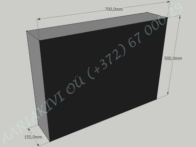Hauakivi 035 70x50x15cm Poleeritud Saetud Saetud must graniit