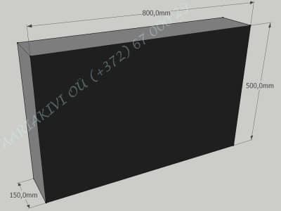 Hauakivi 040 80x50x15cm Poleeritud Saetud Saetud must graniit