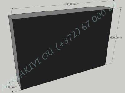 Hauakivi 054 90x60x15cm Poleeritud Saetud Saetud must graniit
