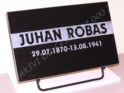 Hauaplaat 0100 40x25x3cm must graniit, kiri-16R servadeni kastis, naturaalne, metallist alus
