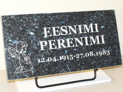 Hauaplaat 0125 50x25x3cm sinine parl graniit pilt-75 kiri-59 hobe metallist alus
