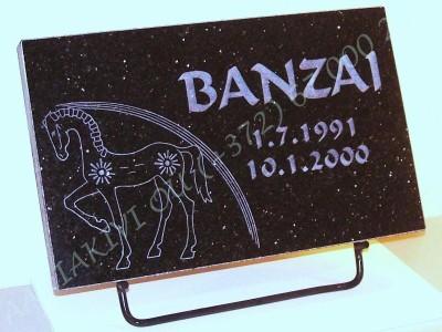 hauaplaat 0100 40x25x3cm tahistaevas graniit pilt-H9 naturaalne kiri-30 naturaalne metallist alus