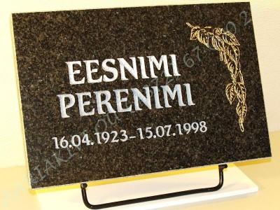 hauaplaat 0135 45x30x3cm tumehall graniit pilt-79 kuld kiri-60 hobe naturaalne metallist alus