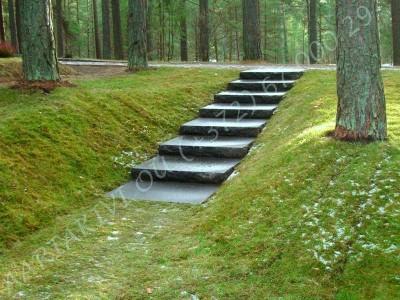 Lennart Meri haud Tallinna metsakalmistul, mustast poleeritud graniidist hauakivi, kivist trepp ja pink trepiastmed